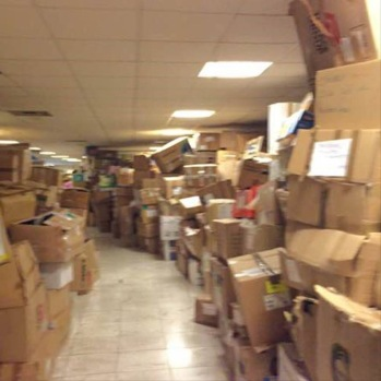 hallways full of unsorted supplies